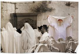 This is sort of what the priestly blessing looks like at my synagogue, except that the rabbi and a number of members of priestly tribe are women